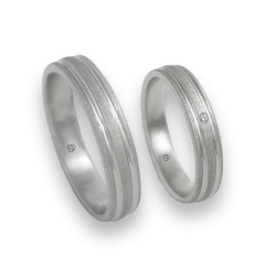 Unisex wedding rings in white gold with 1 diamond speckled finish model sb240632