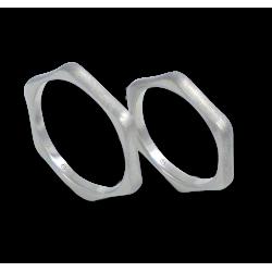Hexagonal wedding rings in white gold 18k ice finish model jb540334