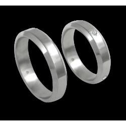 Unisex wedding rings in white gold 18k polished finish with 4 diamond model ab059524