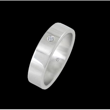 Кольцо из белого золота 18 карат, полированная поверхность алмаз модель 5-732-61dw