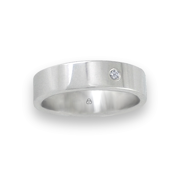 Ring in white gold 18k polished finish one diamond model 732-61dw