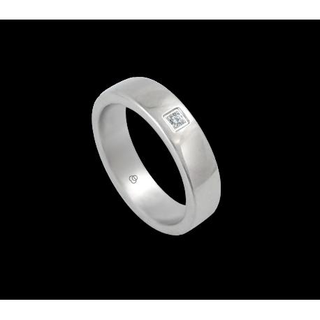Anello in oro bianco 18 kt lucido superficie bombata un diamante modello ab5-632-71dw