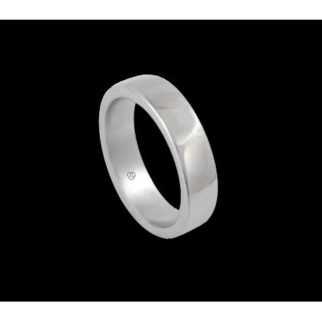 Ring in white gold 18k polished finish slightly rounded surface model ab5-632-71ew