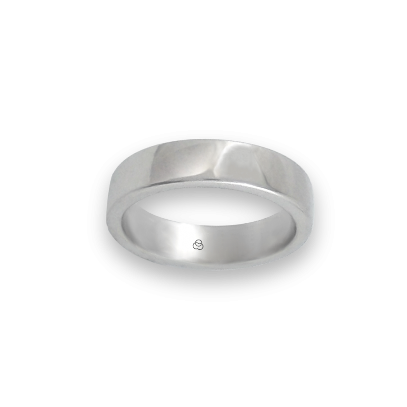 Ring in white gold 18k polished finish slightly rounded surface model ab5-632-71ew