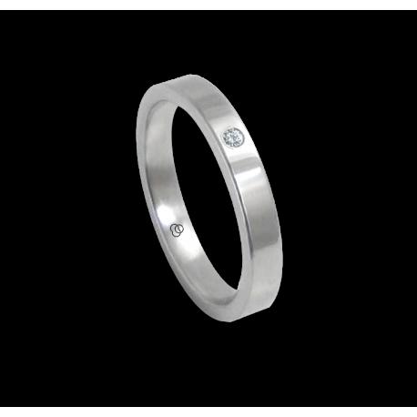 Anello in oro bianco 18 kt lucido superficie piatta un diamante modello ab-3-732-11dw