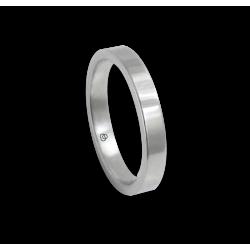 Кольцо из белого золота 18 карат, полированная плоская поверхность модель ab-3-732-11ew