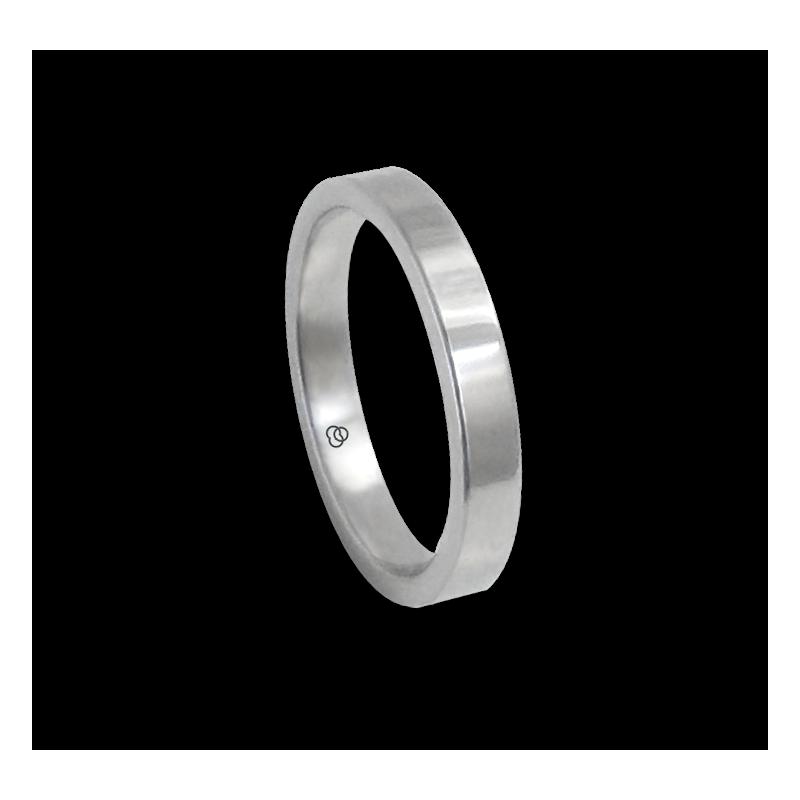 Anello in oro bianco 18 kt lucido superficie piatta modello ab-3-732-11ew