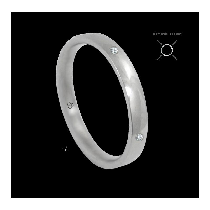 Anello in oro bianco 18 kt lucido superficie bombata quattro diamanti modello ab334124dw