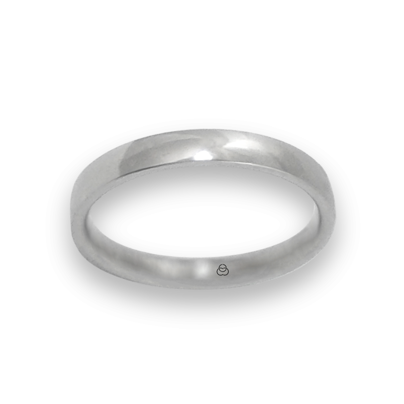Anello in oro bianco 18 kt lucido superficie bombata modello ab334124ew