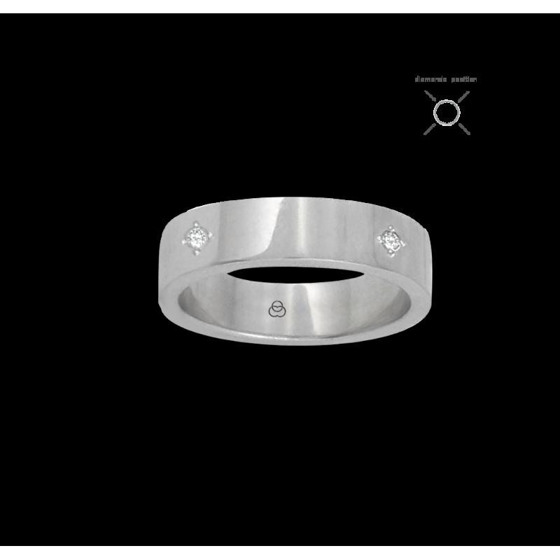 Anello in oro bianco 18 kt lucido superficie piatta quattro diamanti modello 4ab05406dw