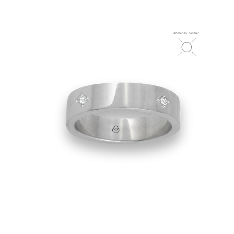 Inel din aur alb de 18 k finisaj lustruit suprafață plană patru diamante model 4ab05406dw