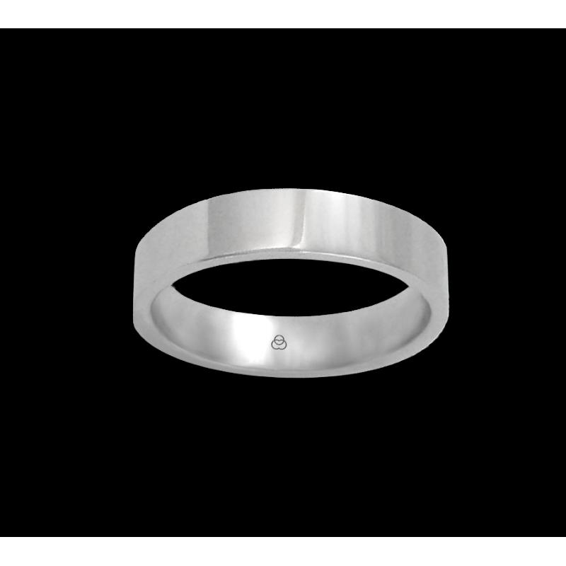 Anello in oro bianco 18 kt lucido superficie piatta modello ab05406ew