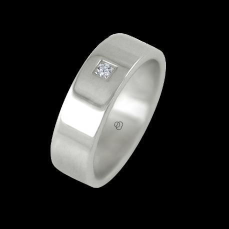 Anello in oro bianco 18 kt lucido superficie piatta un diamante modello ab-5.5-732-22dw