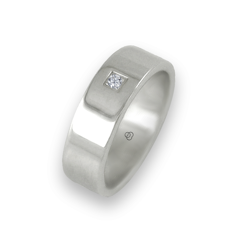 Ring in white gold 18k polished finish flat surface one diamond model ab-5.5-732-22dw