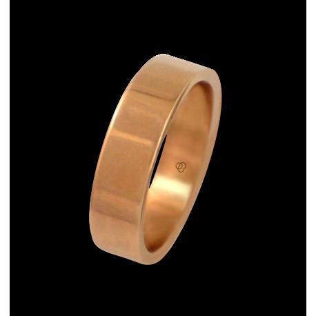 Кольцо из розового золота 18 карат, плоская полированная поверхность модель q-5.5-732-22ew