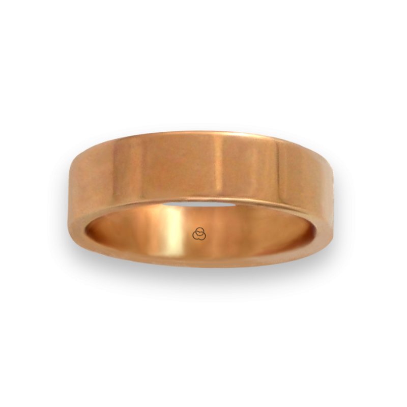 Ring in rose gold 18k polished finish flat surface model q-5.5-732-22ew
