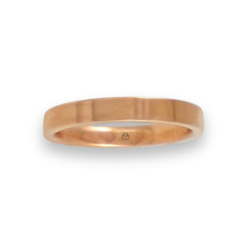 Ring in rose gold 18k polished finish flat surface model q-3-732-18ew
