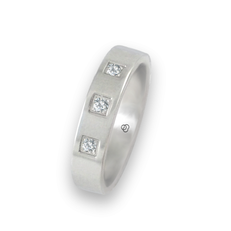Ring in white gold 18k polished finish flat surface three diamonds model ab-5.4-732-12dw