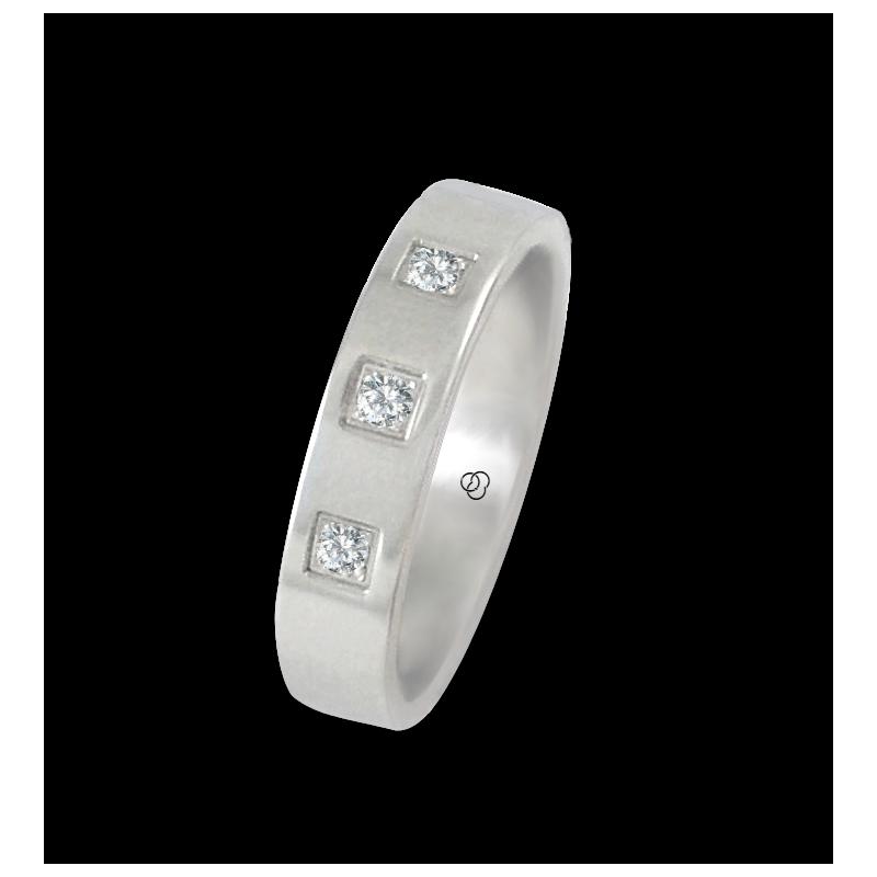 Anello in oro bianco 18 kt lucido superficie piatta tre diamanti modello ab-5.4-732-12dw