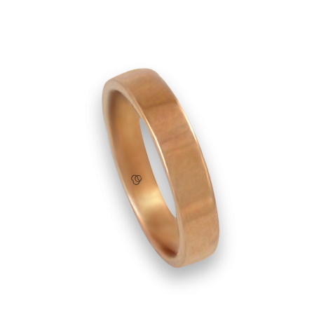 Ring in rose gold 18k polished finish flat surface model q-4.5-732-12ew