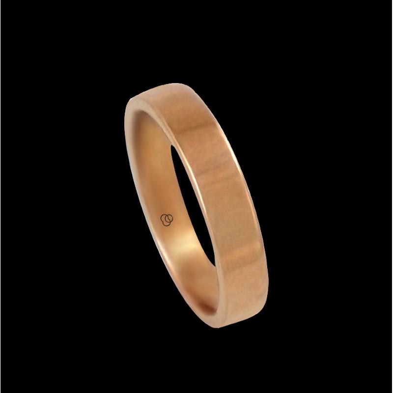 Anello in oro rosa 18 kt lucido superficie piatta modello q-5.4-732-12ew