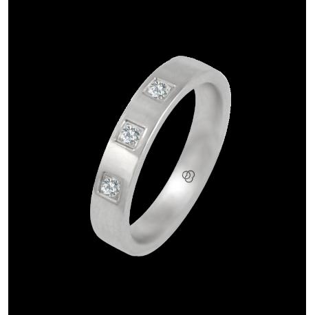 Ring in white gold 18k polished finish flat surface three diamonds model ab-4-732-02dw