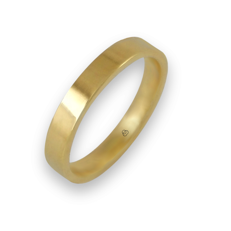 Ring in yellow gold 18k polished finish flat surface model g-4-732-02ew