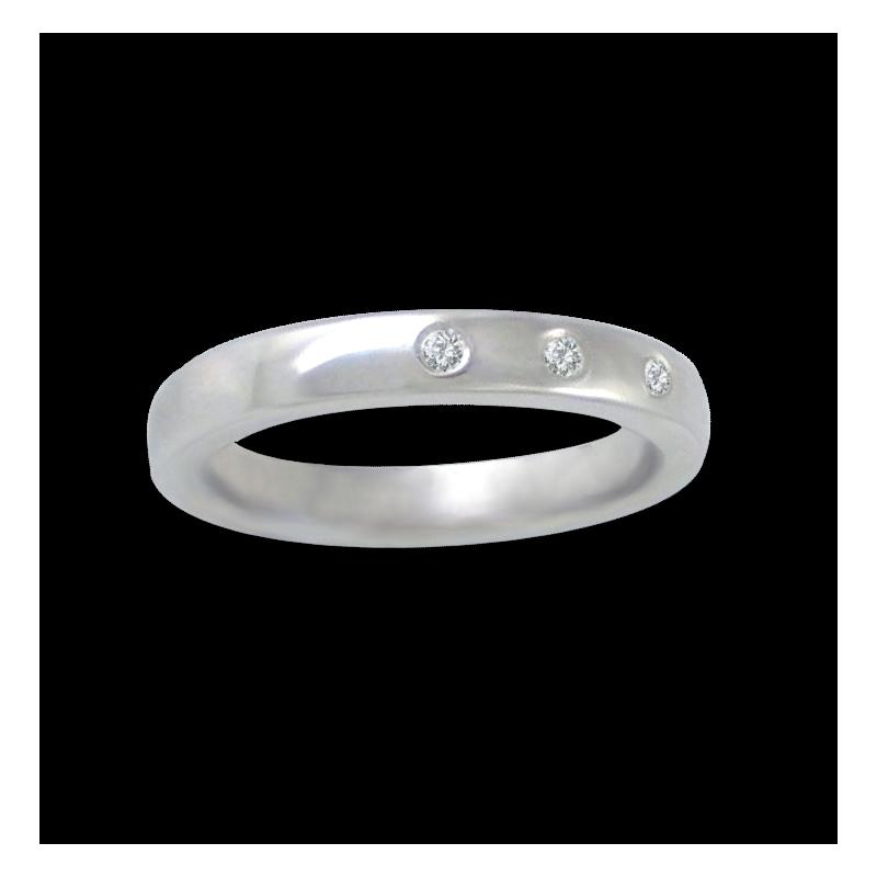Кольцо из белого золота 18 карат, полированная поверхность с тремя бриллиантами модель ab5.3-632-21dw