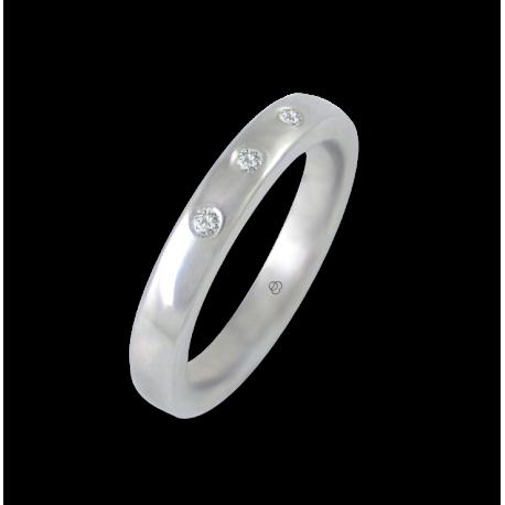 Anello in oro bianco 18 kt lucido superficie bombata tre diamanti modello ab5.3-632-21dw