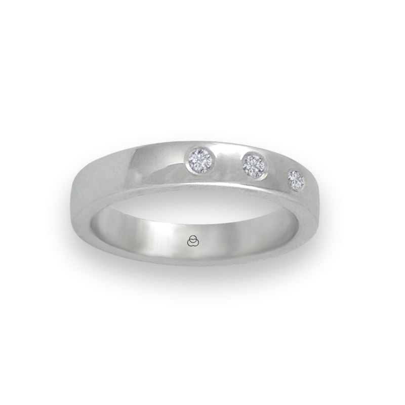Ring in white gold 18k polished finish three diamonds model ab4-632-41dw