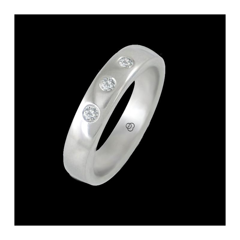 Anello in oro bianco 18 kt lucido superficie bombata tre diamanti modello ab5.4-632-51dw