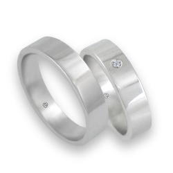 Wedding bands in white gold 18 k with diamond flat surface model ab5-732-61