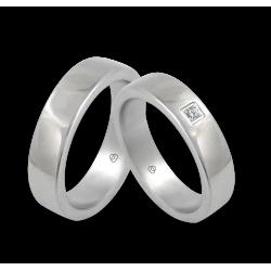 Пара обручальных колец из белого золота 18 к полированная выпуклая поверхность с бриллиантом модель ab5-632-71