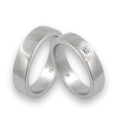 Wedding rings in white gold 18 k with diamond model ab5-632-71