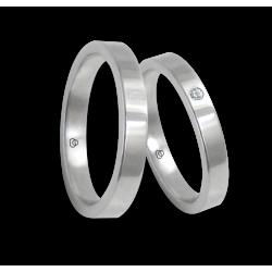 Пара обручальных колец унисекс из белого золота поверхность плоская, полированная, алмаз модели ab3-732