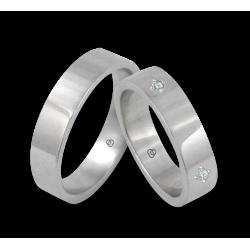 Пара обручальных колец унисекс из белого блестящего золота 18 k с четырьмя бриллиантами модель 4ab05406