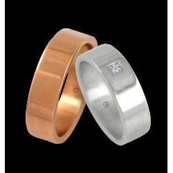 Fedi in oro rosa e bianco con un diamante modello q-ab5.5-732
