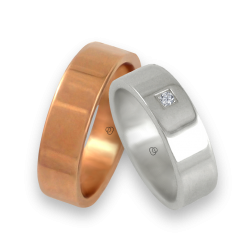 Пара обручальных колец из белого и розового золота с бриллиантом модель q-ab5.5-732
