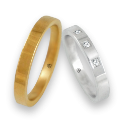 Fedi in oro giallo e bianco lucido 18 kt con tre diamanti modello g-ab5.3-732