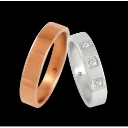 Fedi in oro rosa e bianco lucido 18 k con tre diamanti modello q-ab5.4-732