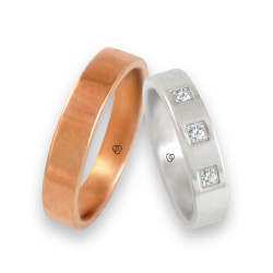 Wedding rings in rose and white gold 18k with three diamonds model q-ab5.4-732
