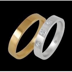 Fedi in oro giallo e bianco lucido 18 kt con tre diamanti modello g-ab4-732
