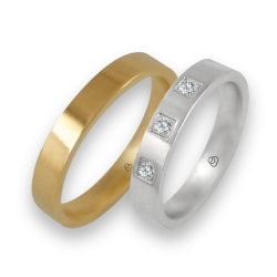 Wedding rings in yellow and white gold 18 k with three diamonds model g-ab4-732