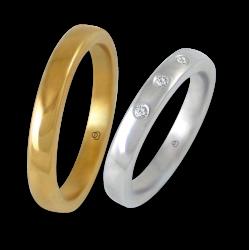 Пара обручальных колец из желтого и белого золота полированные 18 карат поверхность слегка выпуклая модель g-ab5.3-632we_dw