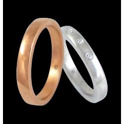 fedi in oro rosa e bianco 18 kt superficie bombata con tre diamanti modello q-ab632