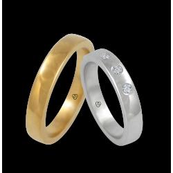 Fedi in oro giallo e bianco 18 kt superficie lucida - bombata con tre diamanti modello g-ab4-632