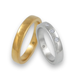 Wedding bands in yellow and white gold three diamond model g-ab4-632