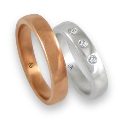 Wedding rings in rose and white gold 18k with three diamonds model q-ab5.4-632