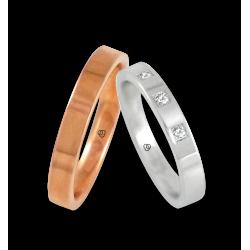 Пара обручальных колец унисекс из белого и розового золота с тремя бриллиантами модель q-ab-3-3.5-732