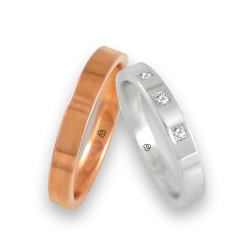 Unisex wedding rings in rose and white gold 18 k three diamonds model q-ab3-3.5-732